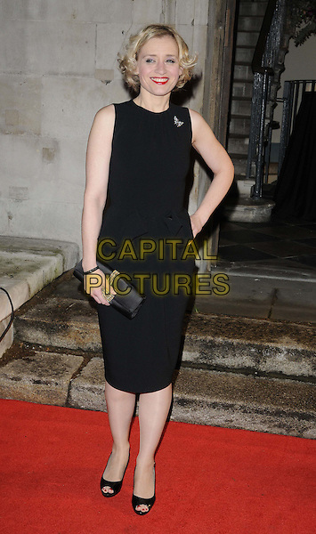 Anne Marie Duff .The 55th BFI London Film Festival Awards, LSO St Lukes, London, England..26th October 2011.full length dress black sleeveless clutch bag butterfly brooch clutch bag hand on hip smiling .CAP/CAN.©Can Nguyen/Capital Pictures.
