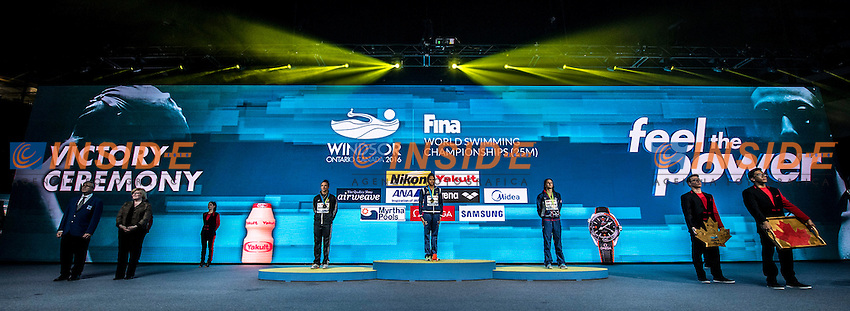 MEDEIROS Etiene BRA Gold Medal<br /> HOSSZU Katinka HUN Silver Medal<br /> DE LOOF Alexandra Margaret USA Bronze Medal<br /> Women's 50m Backstroke<br /> 13th Fina World Swimming Championships 25m <br /> Windsor  Dec. 10th, 2016 - Day05 Final<br /> WFCU Centre - Windsor Ontario Canada CAN <br /> 20161210 WFCU Centre - Windsor Ontario Canada CAN <br /> Photo &copy; Giorgio Scala/Deepbluemedia/Insidefoto