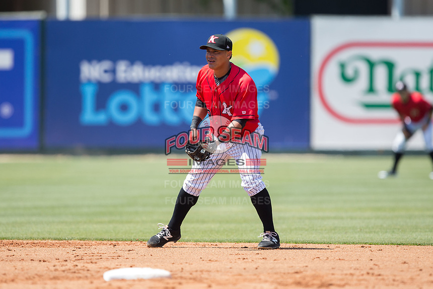 Kannapolis Intimidators shortstop Everth Cabrera (39) on defense against the Asheville Tourists at Kannapolis Intimidators Stadium on May 7, 2017 in Kannapolis, North Carolina.  The Tourists defeated the Intimidators 4-1.  (Brian Westerholt/Four Seam Images)
