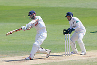 James Foster hits out for Essex as Tim Ambrose looks on from behind the stumps during Essex CCC vs Warwickshire CCC, Specsavers County Championship Division 1 Cricket at The Cloudfm County Ground on 20th June 2017