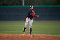 AZL Indians Blue second baseman Aaron Bracho (7) throws to first base during an Arizona League game against the AZL White Sox on July 2, 2019 at Camelback Ranch in Glendale, Arizona. The AZL Indians Blue defeated the AZL White Sox 10-8. (Zachary Lucy/Four Seam Images)