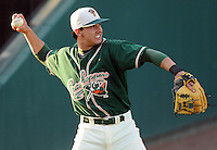 April 17, 2008: Infielder Danny Garcia (2) of the Greensboro Grasshoppers, Class A affiliate of the Florida Marlins, in a game against the Greenville Drive at Fluor Field at the West End in Greenville, S.C. Photo by:  Tom Priddy/Four Seam Images