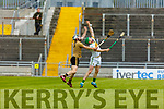 Kerry Padraig Boyle and Offaly's Eoin Parton compete for the sliotar  in the Joe McDonagh Cup relegation game in Tralee on Saturday.