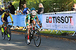 The peloton including Joanna Van De Winkel (RSA) on the 2nd circuit of Harrogate during the Women Elite Road Race of the UCI World Championships 2019 running 149.4km from Bradford to Harrogate, England. 28th September 2019.<br /> Picture: Seamus Yore | Cyclefile<br /> <br /> All photos usage must carry mandatory copyright credit (© Cyclefile | Seamus Yore)