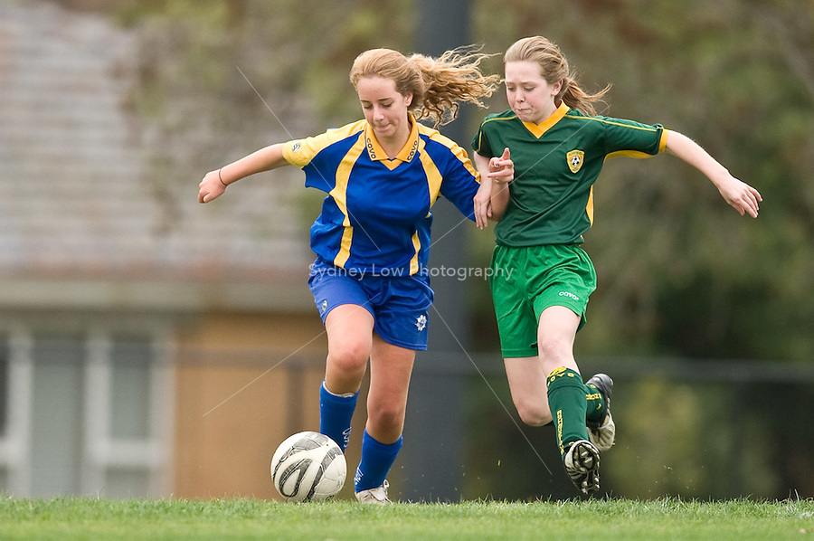 MELBOURNE, AUSTRALIA - May 2, 2010. Round 3 match of the under 15/16A competition in the 2010 FFV winter season between Kensington and Ashburton WSC at Ashburton Park. Photo Sydney Low www.syd-low.com