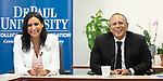 Lourdes Duarte, investigative reporter, co-anchor, WGN News and a DePaul alumna, left, and Dean Baquet, executive editor, The New York Times, talk with College of Communication journalism students about their professional experience, Thursday, April 25, 2019. Duarte and Baquet received awards from the Center for Journalism Integrity and Excellence honoring their work that embodies the highest principles of journalism, including truth, accuracy, fairness and context. (DePaul University/Jeff Carrion)