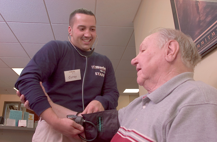 16912Wellworks/ Students with Client photos staff: Students..Blood Pressure:.William Inman.Corey Devol