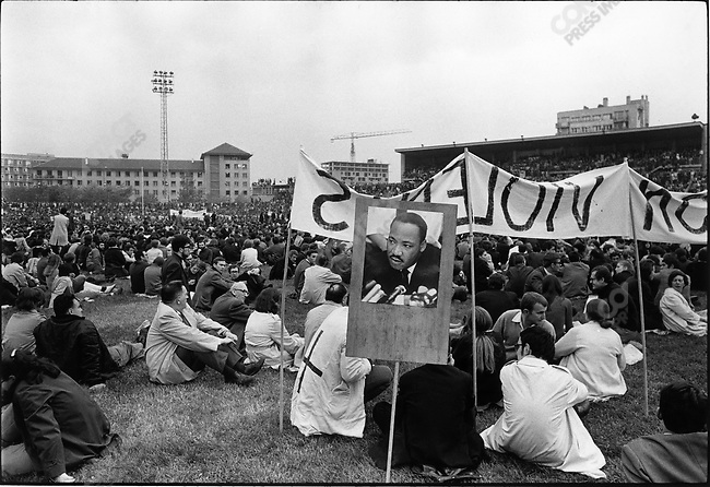 The 1968 May Events, Charlety Stadium, with poster of Martin Luther King, Paris, France, May 27, 1968..