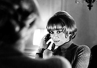 New York City. February 20th, 1969. Actress Mireille Darc at Plaza Hotel, Suite 934.