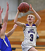 Jillian Colucci #3 of Port Jefferson, right, drives to the net during NYSPHSAA varsity girls basketball Class C Southeast Regional Final against Haldane at SUNY Old Westbury on Thursday, March 9, 2017. She scored 6 points in the Lady Royals' 43-30 win.