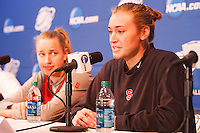 STANFORD-March 23, 2013: Mikaela Ruef  and Joslyn Tinkle NCAA press conference Saturday Morning on the day before the first round of the NCAA Division 1 Women's Basketball Championship is played at Maples Pavilion.