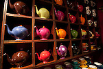 Tea pots in a tea shop in the Caroouge neighbrhood of Geneva, Switzerland