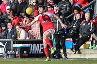 Joe Maguire of Fleetwood Town during the Sky Bet League 1 match between Fleetwood Town and MK Dons at Highbury Stadium, Fleetwood, England on 24 February 2018. Photo by David Horn / PRiME Media Images