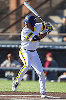 Michigan Wolverines outfielder Johnny Slater (25) at bat against the Central Michigan Chippewas on March 29, 2016 at Ray Fisher Stadium in Ann Arbor, Michigan. Michigan defeated Central Michigan 9-7. (Andrew Woolley/Four Seam Images)