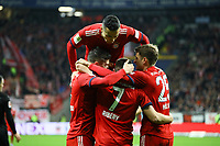 celebrate the goal, Torjubel zum 0:1 um Franck Ribery (FC Bayern Muenchen) mit Robert Lewandowski (FC Bayern Muenchen), Thomas Mueller (FC Bayern Muenchen), Rafinha (FC Bayern Muenchen) - 22.12.2018: Eintracht Frankfurt vs. FC Bayern München, Commerzbank Arena, DISCLAIMER: DFL regulations prohibit any use of photographs as image sequences and/or quasi-video.