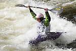 June 6, 2009:  USA's, Emily Jackson, celebrates her championship run in the Women's Freestyle Kayak Finals at the Teva Mountain Games, Vail, Colorado.