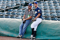 20 September 2012: Quentin Pourcel is seen next to French Federation of Baseball President Didier Seminet prior to Spain 8-0 win over France, at the 2012 World Baseball Classic Qualifier round, in Jupiter, Florida, USA.