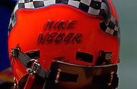 Budweiser Madison Regatta, ,Ohio River, Madison, Indiana, USA 7 July,2002.Copyright©F.Peirce Williams 2002.Mike Weber's helmet and HANS device..F.Peirce Williams .photography.P.O.Box 455  Eaton,OH 45320 USA.p: 317.358.7326  e: fpwp@mac.com