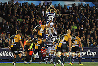 Dominic Day rises high to win lineout ball. Amlin Challenge Cup Final, between Bath Rugby and Northampton Saints on May 23, 2014 at the Cardiff Arms Park in Cardiff, Wales. Photo by: Patrick Khachfe / Onside Images