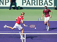 Moscow, Russia, 16 th July, 2016, Tennis,  Davis Cup Russia-Netherlands, Doubles : Konstantin Kravchuk (RUS)/ Andrey Rublev (RUS (L)<br /> Photo: Henk Koster/tennisimages.com