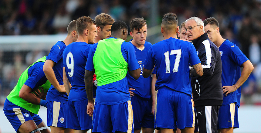Leicester City Manager Claudio Ranieri gives his second half team a team talk at half time of their friendly against Lincoln City<br /> <br /> Photographer Chris Vaughan/CameraSport<br /> <br /> Football - Football Friendly - Lincoln City v Leicester City - Tuesday 21st July 2015 - Sincil Bank - Lincoln<br /> <br /> &copy; CameraSport - 43 Linden Ave. Countesthorpe. Leicester. England. LE8 5PG - Tel: +44 (0) 116 277 4147 - admin@camerasport.com - www.camerasport.com
