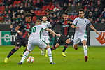 29.11.2018, BayArena, Leverkusen, Europaleque, Vorrunde, GER, UEFA EL, Bayer 04 Leverkusen (GER) vs. Ludogorez Rasgrad (BUL),<br />  <br /> DFL regulations prohibit any use of photographs as image sequences and/or quasi-video<br /> <br /> im Bild / picture shows: <br /> Leon Bailey (Leverkusen #9), im Zweikampf gegen  Cosmin Moti (Ludogorez Rasgrad #30), <br /> <br /> Foto &copy; nordphoto / Meuter<br /> <br /> <br /> <br /> Foto &copy; nordphoto / Meuter