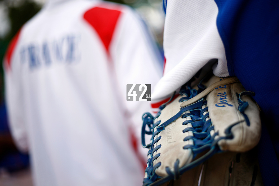 24 June 2011: Close view of Joris Bert glove after France 8-5 win over UCLA Alumni, at the 2011 Prague Baseball Week, in Prague, Czech Republic.