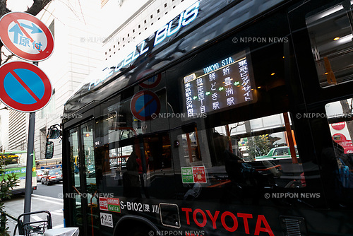 A hydrogen fuel cell bus is seen at Yurakucho area on March 23, 2017, Tokyo, Japan. From March 21, the Tokyo Metropolitan Government Bureau of Transportation has been operating two hydrogen fuel cell buses on the route between Tokyo Station and the International Exhibition Center (Tokyo Big Sight). The new public transports, developed by Toyota Motor Corporation, are part of the bureau plan to contribute to a ''hydrogen society''. (Photo by Rodrigo Reyes Marin/AFLO)