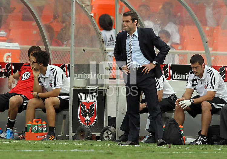 WASHINGTON, D.C. - AUGUST 19, 2012:  Ben Olsen of DC United looks on after Dwayne DeRosario (7) had missed a penalty kick against the Philadelphia Union during an MLS match at RFK Stadium, in Washington DC, on August 19. The game ended in a 1-1 tie.