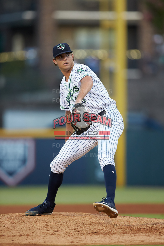 Gwinnett Stripers relief pitcher Jeremy Walker (48) in action against the Scranton/Wilkes-Barre RailRiders at Coolray Field on August 18, 2019 in Lawrenceville, Georgia. The RailRiders defeated the Stripers 9-3. (Brian Westerholt/Four Seam Images)