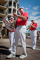 The Dixie Gators, North Fort Myers, got parade-goers toes tapping with their dixieland tunes during the Fourth Annual Mardi Paws Parade and Pet Fest held at the Mercato Shopping Center in Naples on Saturday, Feb. 26. The event featured a pet parade down Main Street and a four-legged themed festival with costume contests and adoptable homeless pets.  Photo by Debi Pittman Wilkey