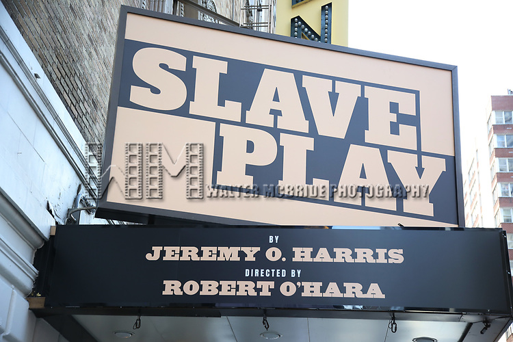 "Theatre Marquee for ""Slave Play"" by Jeremy O. Harris at the Golden Theatre on August 22, 2019 in New York City."