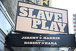 """Theatre Marquee for """"Slave Play"""" by Jeremy O. Harris at the Golden Theatre on August 22, 2019 in New York City."""