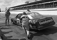 Dale Earnhardt makes a pit stop during the Busch Series race at Darlington Raceway in Darlington, SC on March 19, 1988. (Photo by Brian Cleary/www.bcpix.com)