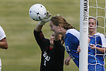 04 November 2009: Duke's Tara Campbell (1) and Kendall Bradley (12) combine to keep the ball out of the goal. The Florida State University Seminoles defeated the Duke University Blue Devils 2-0 at Koka Booth Stadium in WakeMed Soccer Park in Cary, North Carolina in an Atlantic Coast Conference Women's Soccer Tournament Quarterfinal game.