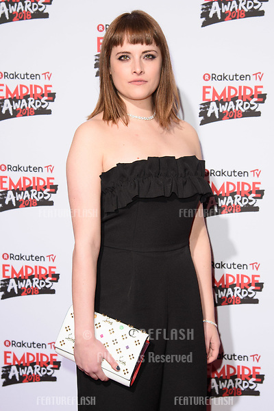 Hannah Britland arriving for the Empire Awards 2018 at the Roundhouse, Camden, London, UK. <br /> 18 March  2018<br /> Picture: Steve Vas/Featureflash/SilverHub 0208 004 5359 sales@silverhubmedia.com