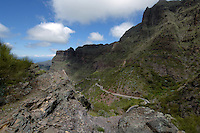 Winding mountain road, Masca. Tenerife, Canary Islands.
