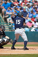 Canaan Smith (15) of the Charleston RiverDogs at bat against the Hickory Crawdads at L.P. Frans Stadium on May 13, 2019 in Hickory, North Carolina. The Crawdads defeated the RiverDogs 7-5. (Brian Westerholt/Four Seam Images)