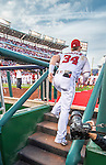 7 October 2016: Washington Nationals outfielder Bryce Harper is photographed as he heads up the dugout steps during his  pre-game introduction, prior to the first game of the NLDS between the Washington Nationals and the Los Angeles Dodgers at Nationals Park in Washington, DC. The Dodgers edged out the Nationals 4-3 to take the opening game of their best-of-five series. Mandatory Credit: Ed Wolfstein Photo *** RAW (NEF) Image File Available ***