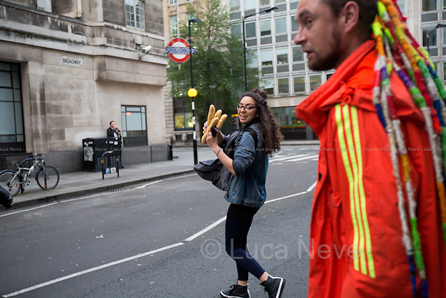 Bread!<br /> <br /> London, 11/05/2016. This evening, members of the public supported by Zekra, the organiser of &quot;Happy Ravers&quot;, walked from Victoria Station to Leicester Square in Central London for &quot;distributing and collecting essential items to those who may need them on our streets&quot;. Cups of tea, coffee and hot soups, sandwiches, muffins, water, biscuits and a lot of smiles, company and hugs were donated this evening to the homeless people who are living in some London's streets and sleeping rough. <br /> <br /> For more information and to help please click here: https://www.facebook.com/groups/havers/