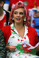 A female Wales fan watches the game during the FIFA World Cup Qualifier Group D match between Wales and Austria at The Cardiff City Stadium, Cardiff, Wales, UK. Saturday 02 September 2017