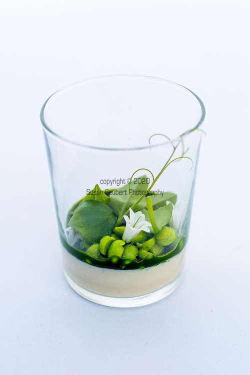 Castagna Restaurant, Portland, Oregon. One of the snacks: terrarium of onion custard with onion blossoms and pea vine