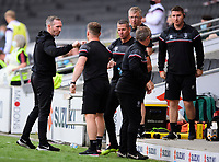 Lincoln City manager Michael Appleton, left, celebrates the victory with the Lincoln bench<br /> <br /> Photographer Chris Vaughan/CameraSport<br /> <br /> The EFL Sky Bet League One - Milton Keynes Dons v Lincoln City - Saturday 19th September 2020 - Stadium MK - Milton Keynes<br /> <br /> World Copyright © 2020 CameraSport. All rights reserved. 43 Linden Ave. Countesthorpe. Leicester. England. LE8 5PG - Tel: +44 (0) 116 277 4147 - admin@camerasport.com - www.camerasport.com