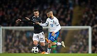 Lorenzo Insigne (Napoli) of Italy & Manuel Lanzini (West Ham United) of Argentina during the International Friendly match between Argentina and Italy at the Etihad Stadium, Manchester, England on 23 March 2018. Photo by Andy Rowland.