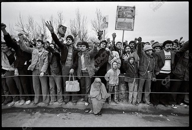 Ayatollah Khomeini supporters at Shahyad Square. Tehran, January 19, 1979