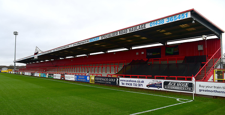 A general view of The Lamex Stadium, home of Stevenage FC<br /> <br /> Photographer Andrew Vaughan/CameraSport<br /> <br /> The EFL Sky Bet League Two - Stevenage v Lincoln City - Saturday 8th December 2018 - The Lamex Stadium - Stevenage<br /> <br /> World Copyright © 2018 CameraSport. All rights reserved. 43 Linden Ave. Countesthorpe. Leicester. England. LE8 5PG - Tel: +44 (0) 116 277 4147 - admin@camerasport.com - www.camerasport.com