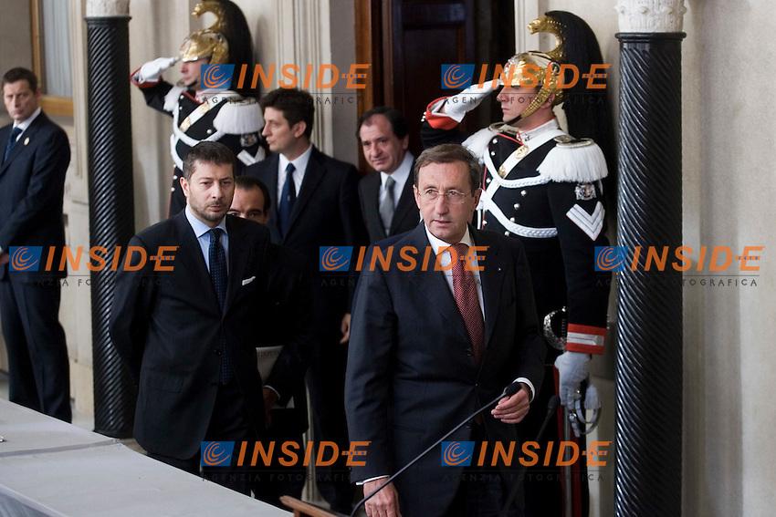 CONSULTAZIONI AL QUIRINALE CON IL PRESIDENTE DELLA REPUBBLICA A SEGUITO DELLE DIMISSIONI DEL GOVERNO..NELLA FOTO IL PRESIDENTE DELLA CAMERA USCENTE GIANFRANCO FINI..ROMA 13 NOVEMBRE  2011..PHOTO  SERENA CREMASCHI INSIDEFOTO..............................