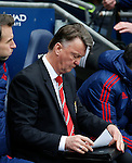 Louis van Gaal manager of Manchester United with his folder during the Barclays Premier League match at The Etihad Stadium. Photo credit should read: Simon Bellis/Sportimage