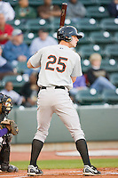 Joe Mahoney #25 of the Frederick Keys at bat against the Winston-Salem Dash at  BB&T Ballpark April 28, 2010, in Winston-Salem, North Carolina.  Photo by Brian Westerholt / Four Seam Images