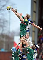 Jamie Gibson competes with Stuart Hooper for the ball at a lineout. Aviva Premiership match, between Leicester Tigers and Bath Rugby on January 5, 2014 at Welford Road in Leicester, England. Photo by: Patrick Khachfe / Onside Images